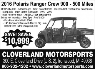 2016 Polaris Ranger Crew 900 - 500 Miles
