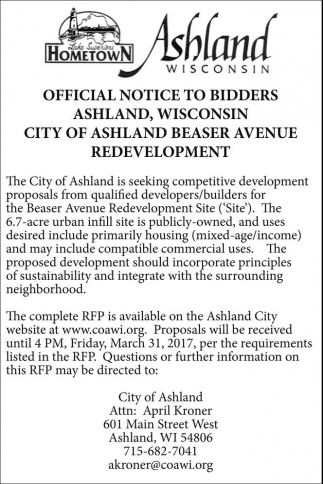 Official Notice to Bidders Ashland, Wisconsin