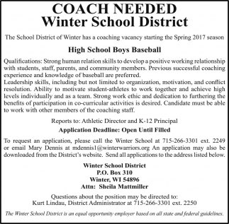 Coach Needed