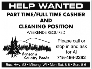 Cashier and Cleaning Positions