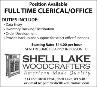 Full Time Clerical / Office