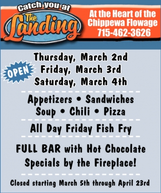 Full Bar with Hot Chocolate Specials by the Fireplace!