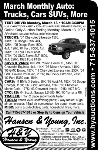 March Monthly Auto: Trucks, Cars SUVs, More