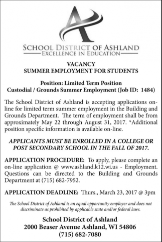 summer employment for high school students