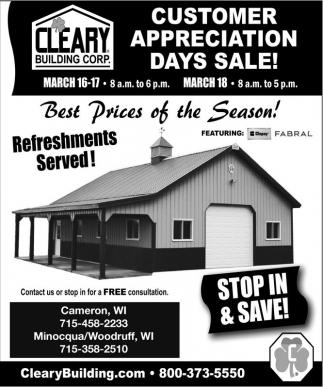 Customer Appreciation Days Sale!