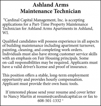 Ashland Arms Maintenance Technician