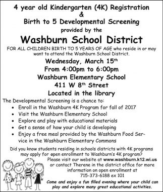 4 year old Kindergarten (4K) Registration & Birth to 5 Developmental Screening