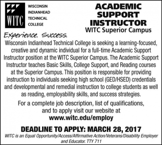 Academic Support Instructor WITC Superior Campus