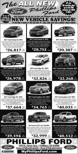 New Vehicles Savings!