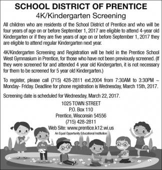 4K/Kindergarten Screening
