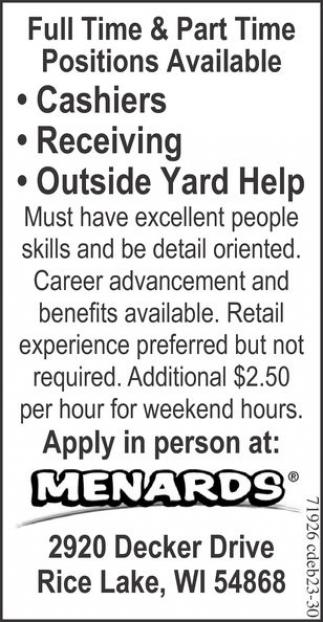Cashiers, Receiving, Outside Yard Help
