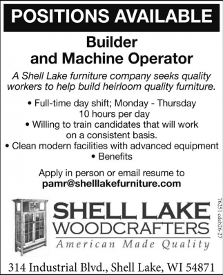 Builder and Machine Operator