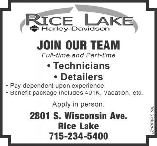 Technicians Detailers Rice Lake Harley Davidson Rice Lake Wi