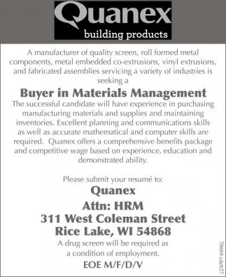 Buyer in Meterials Management