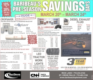 Baribeau's Pre-Season Savings Days
