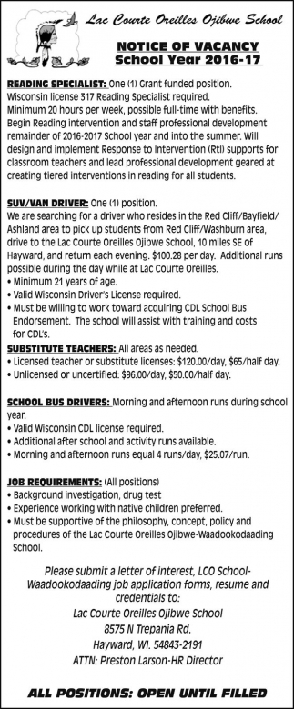 Reading Specialist, Suv/Van Driver, Substitute Teachers, School Bus Drivers
