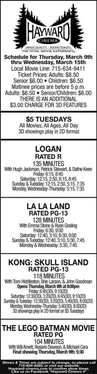 Logan, La La Land, Kong: Skull Island, The Lego Batman Movie, Fist Fight, The Great Wall