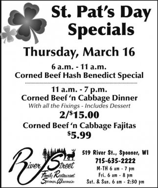 St. Pat's Day Specials