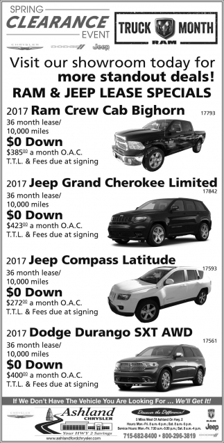 RAM & JEEP Lease Specials