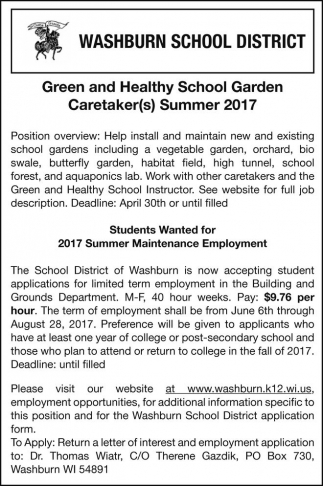 Green and Healthy School Garden Caretaker(s) Summer 2017