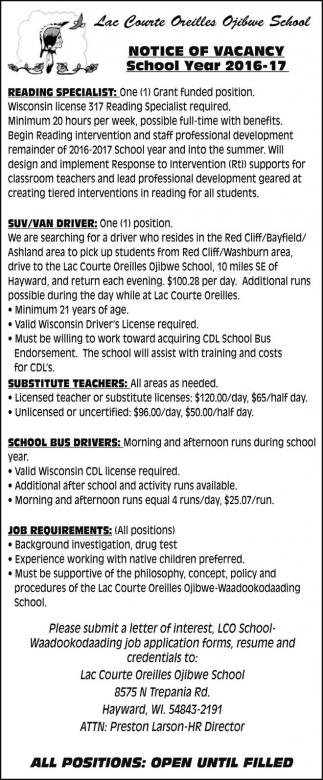 Reading Specialist Suv Van Driver Substitute Teachers School Bus