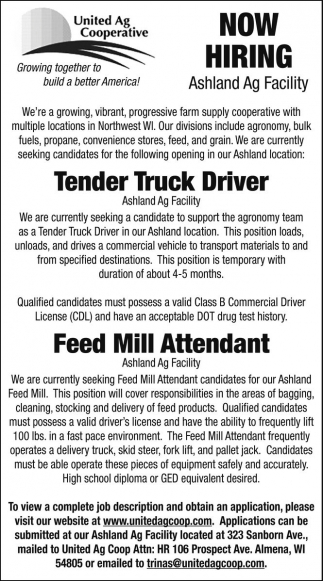 Tender Truck Driver - Feed Mill Attendant