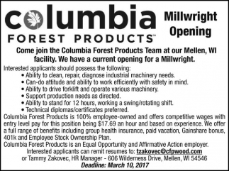 Millwright Opening
