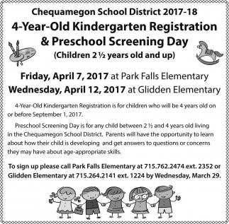 4 Year Old Kindergarten Registration & Preschool Screening Day