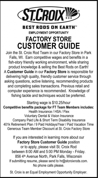 Factory Store Customer Guide
