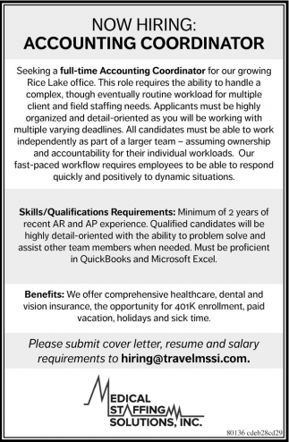 Accounting Coordinator Medical Staffing Solutions Inc Rice Lake Wi