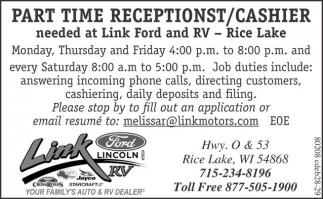 Part Time Receptionst / Cashier