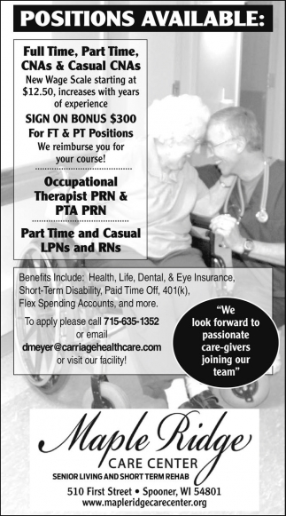 CNAs, Occupational Therapist PRN, LPNs and RNs