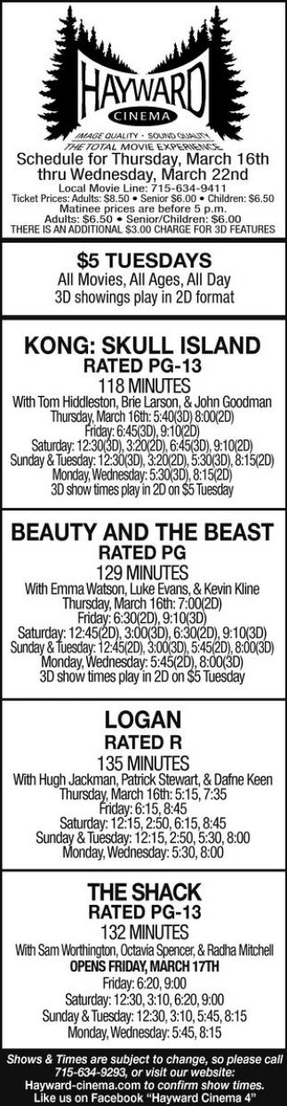 Kong: Skull Island, Beauty and the Beast, Logan, The Shack