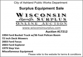 Surplus Equipment Sale
