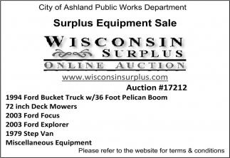 Surplus Equipment Sale