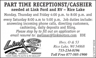 Part Time Receptionst / Cashier