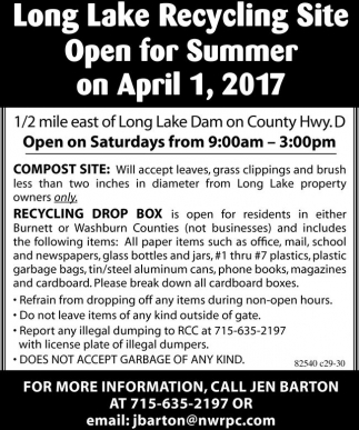 Long Lake Recycling Site Open for Summer