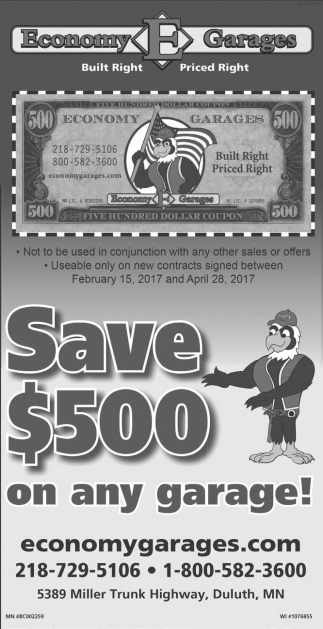 Save $500 on any garage!