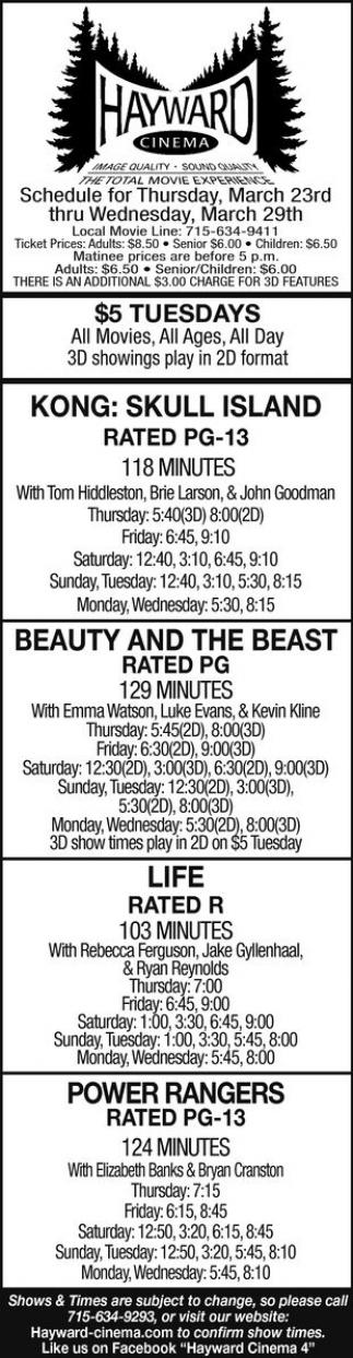 Kong: Skull Island, Beauty and the Beast, Life, Power Rangers