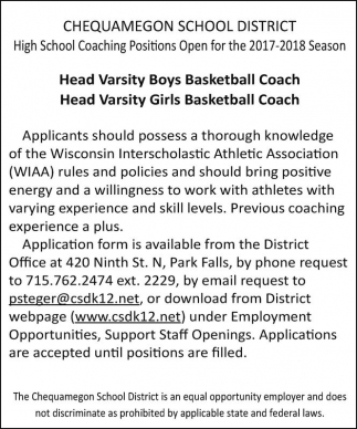 High School Coaching Positions Open for the 2017-2018 Season