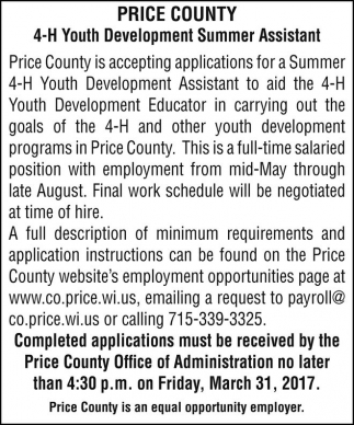 4-H Youth Development Summer Assistant