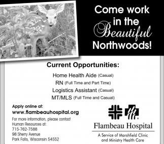 Current Opportunities Flambeau Hospital Park Falls Wi