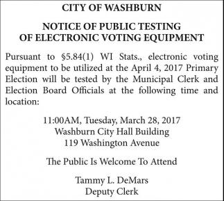 Notice of Public Testing