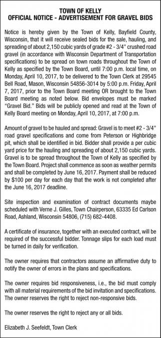Advertisement for Gravel Bids