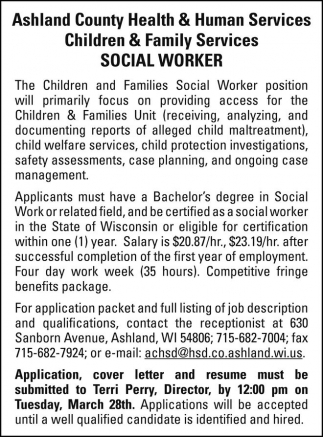 Social Worker, Ashland County Health And Human Services Department,  Ashland, WI