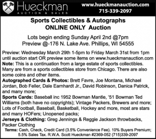 Sports Collectibles & Autographs Online Only Auction