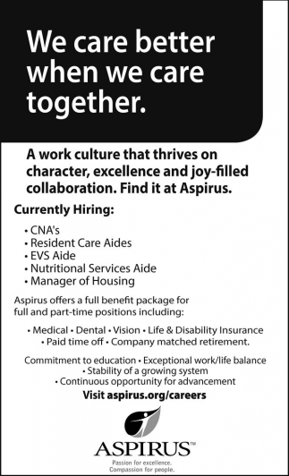 CNA's, Resident Care Aides, EVS Aide, Nutritional Services Aide, Manager of Housing