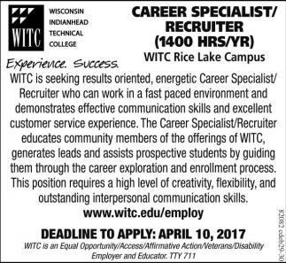 Career Specialist / Recruiter (1400 hrs/yr)