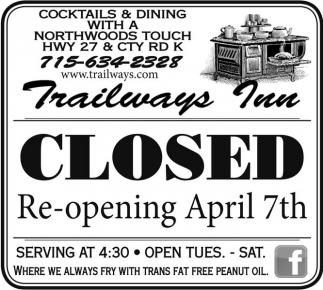Re-Opening in April 7th