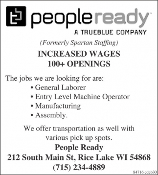 Increased Wages 100 Openings People Ready